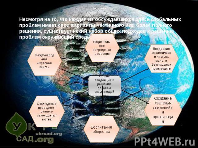 Заключение Несмотря на то, что каждая из обсуждавшихся здесь глобальных проблем имеет свои варианты частичного или более полного решения, существует некий набор общих подходов к решению проблем окружающий среды.