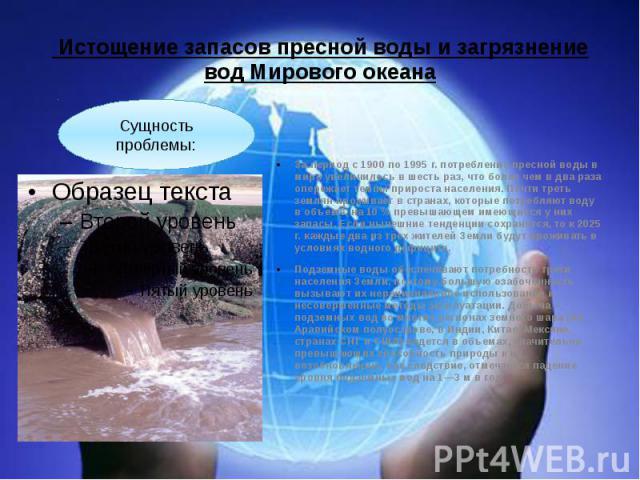 Истощение запасов пресной воды и загрязнение вод Мирового океана За период с 1900 по 1995 г. потребление пресной воды в мире увеличилось в шесть раз, что более чем в два раза опережает темпы прироста населения. Почти треть землян проживает в странах…