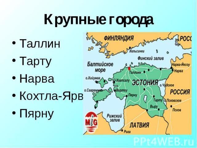 Таллин Таллин Тарту Нарва Кохтла-Ярве Пярну