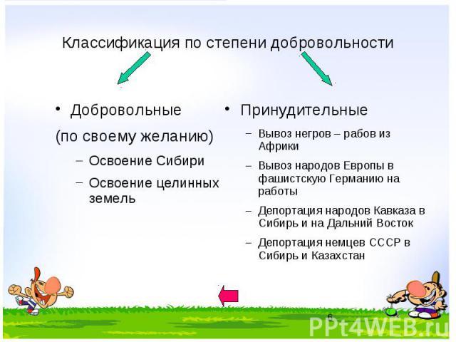 Классификация по степени добровольности Добровольные (по своему желанию) Освоение Сибири Освоение целинных земель