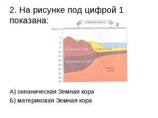 2. На рисунке под цифрой 1 показана: А) океаническая Земная кора Б) материковая