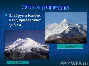 Эльбрус и Казбек в год прибавляют до 3 см Эльбрус и Казбек в год прибавляют до 3