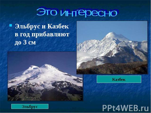 Эльбрус и Казбек в год прибавляют до 3 см Эльбрус и Казбек в год прибавляют до 3 см