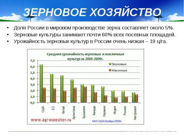 ЗЕРНОВОЕ ХОЗЯЙСТВО Доля России в мировом производстве зерна составляет около 5%. Зерновые культуры занимают почти 60% всех посевных площадей. Урожайность зерновых культур в России очень низкая – 19 ц/га.