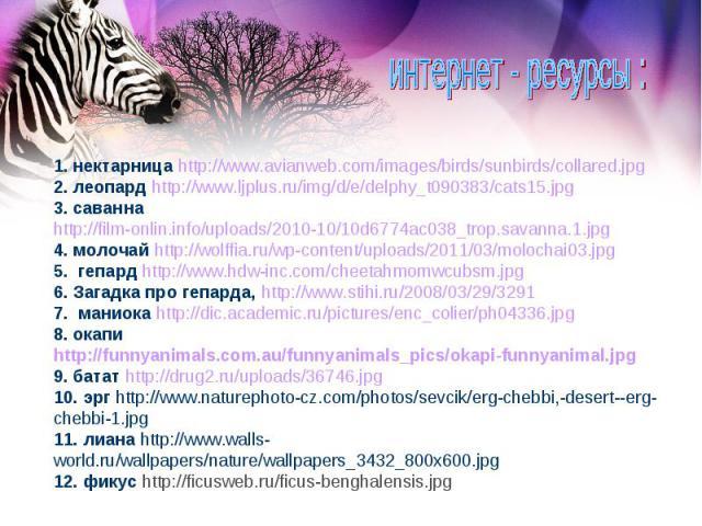 1. нектарница http://www.avianweb.com/images/birds/sunbirds/collared.jpg 2. леопард http://www.ljplus.ru/img/d/e/delphy_t090383/cats15.jpg 3. саванна http://film-onlin.info/uploads/2010-10/10d6774ac038_trop.savanna.1.jpg 4. молочай http://wolffia.ru…