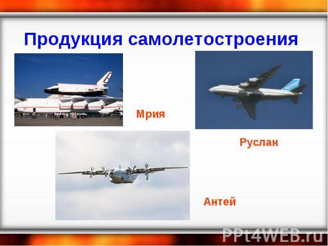 Продукция самолетостроения