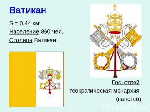 Ватикан S = 0,44 км2 Население 860 чел. Столица Ватикан Гос. строй теократическа