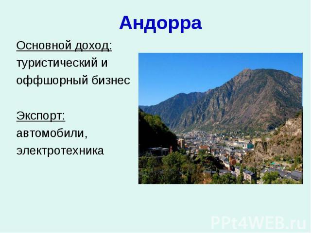 Андорра Основной доход: туристический и оффшорный бизнес Экспорт: автомобили, электротехника