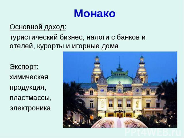 Монако Основной доход: туристический бизнес, налоги с банков и отелей, курорты и игорные дома Экспорт: химическая продукция, пластмассы, электроника