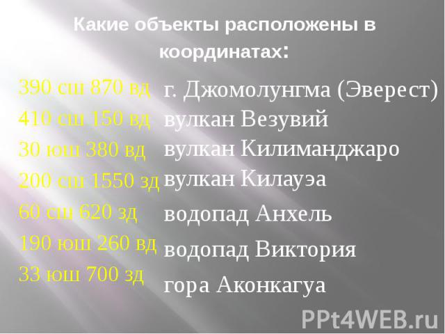 Какие объекты расположены в координатах: 390 сш 870 вд 410 сш 150 вд 30 юш 380 вд 200 сш 1550 зд 60 сш 620 зд 190 юш 260 вд 33 юш 700 зд