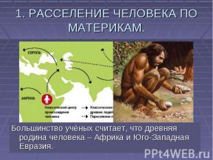 1. РАССЕЛЕНИЕ ЧЕЛОВЕКА ПО МАТЕРИКАМ. Большинство учёных считает, что древняя род