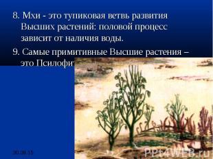 8. Мхи - это тупиковая ветвь развития Высших растений: половой процесс зависит о