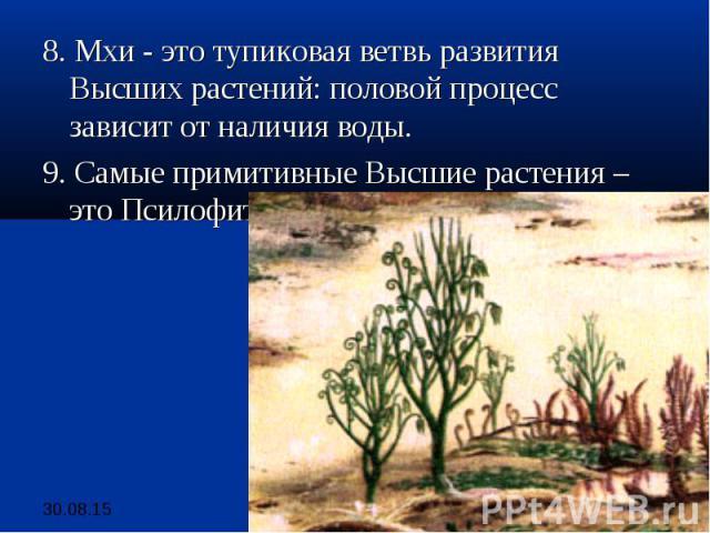 8. Мхи - это тупиковая ветвь развития Высших растений: половой процесс зависит от наличия воды. 8. Мхи - это тупиковая ветвь развития Высших растений: половой процесс зависит от наличия воды. 9. Самые примитивные Высшие растения – это Псилофиты