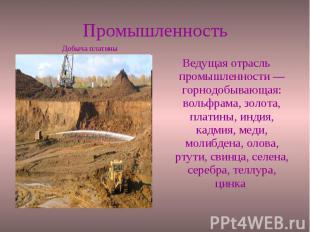 Промышленность Ведущая отрасль промышленности — горнодобывающая: вольфрама, золо