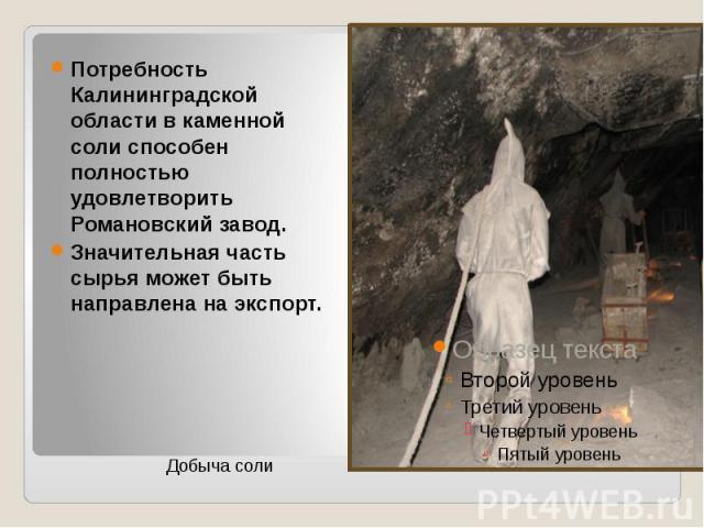 Потребность Калининградской области в каменной соли способен полностью удовлетворить Романовский завод. Значительная часть сырья может быть направлена на экспорт.