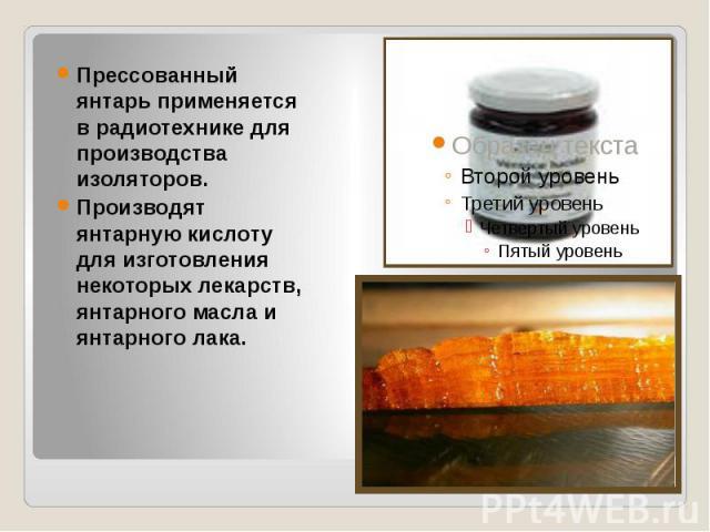 Прессованный янтарь применяется в радиотехнике для производства изоляторов. Производят янтарную кислоту для изготовления некоторых лекарств, янтарного масла и янтарного лака.