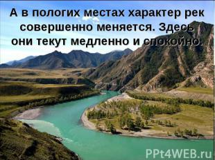 А в пологих местах характер рек совершенно меняется. Здесь они текут медленно и