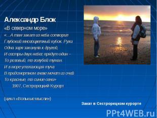 Александр Блок «В северном море» «…А там закат из неба сотворил Глубокий многоцв