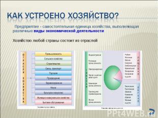 Предприятие - самостоятельная единица хозяйства, выполняющая различные виды экон