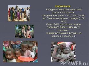 Население. В Судане отмечается высокий прирост населения. Средняя плотность – 13