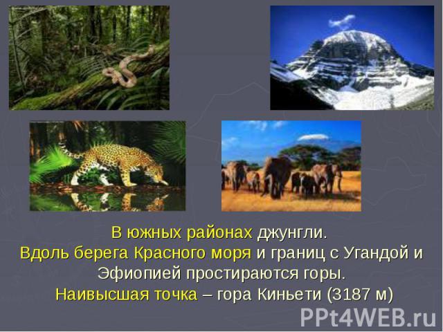 В южных районах джунгли. Вдоль берега Красного моря и границ с Угандой и Эфиопией простираются горы. Наивысшая точка – гора Киньети (3187 м)