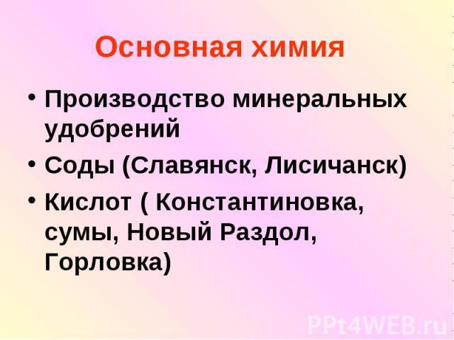 Основная химия Производство минеральных удобрений Соды (Славянск, Лисичанск) Кислот ( Константиновка, сумы, Новый Раздол, Горловка)