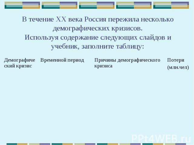 В течение ХХ века Россия пережила несколько демографических кризисов. Используя содержание следующих слайдов и учебник, заполните таблицу: