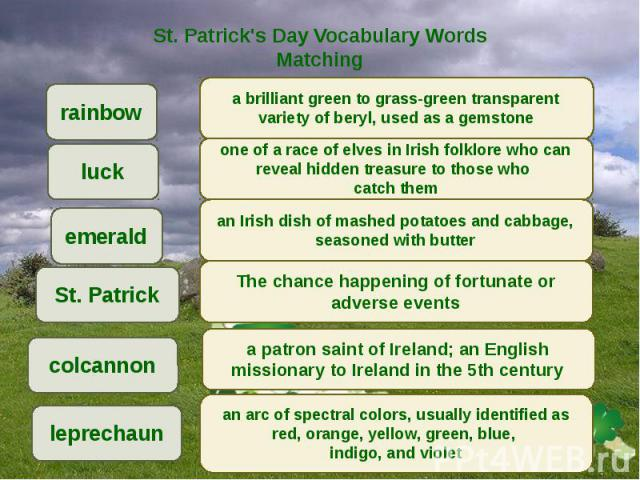 St. Patrick's Day Vocabulary Words Matching