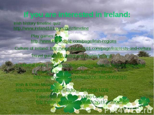 If you are interested in Ireland:
