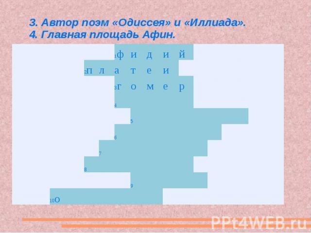 3. Автор поэм «Одиссея» и «Иллиада». 4. Главная площадь Афин.