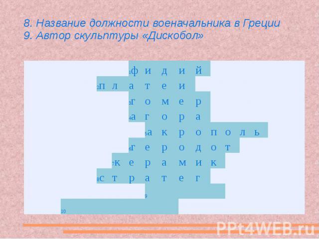 8. Название должности военачальника в Греции 9. Автор скульптуры «Дискобол»