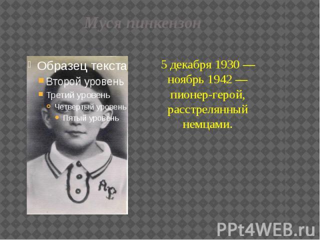 Муся пинкензон 5 декабря 1930 — ноябрь 1942 — пионер-герой, расстрелянный немцами.