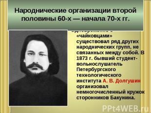 Народнические организации второй половины 60-х — начала 70-х гг. Одновременно с