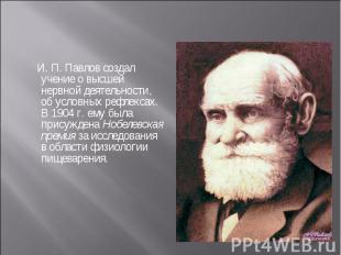 И. П. Павлов создал учение о высшей нервной деятельности, об условных рефлексах.