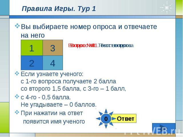 Правила Игры. Тур 1 Вы выбираете номер опроса и отвечаете на него Если узнаете ученого: с 1-го вопроса получаете 2 балла со второго 1,5 балла, с 3-го – 1 балл, с 4-го - 0,5 балла. Не угадываете – 0 баллов. При нажатии на ответ появится имя ученого