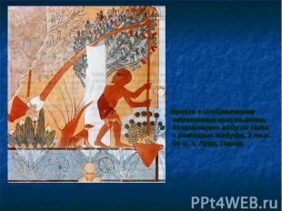 Фреска с изображением египтянина-крестьянина, достающего воду из Нила с помощью