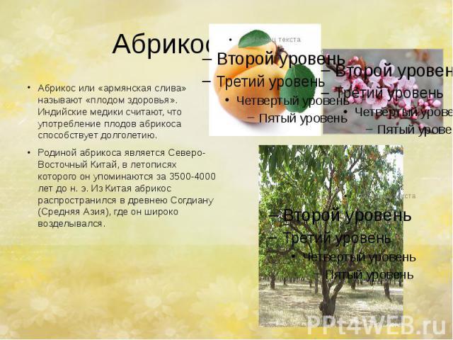 Абрикос. Абрикос или «армянская слива» называют «плодом здоровья». Индийские медики считают, что употребление плодов абрикоса способствует долголетию. Родиной абрикоса является Северо-Восточный Китай, в летописях которого он упоминаются за 3500-4000…