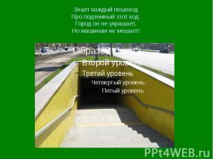 Знает каждый пешеход Про подземный этот ход. Город он не украшает, Но машинам не