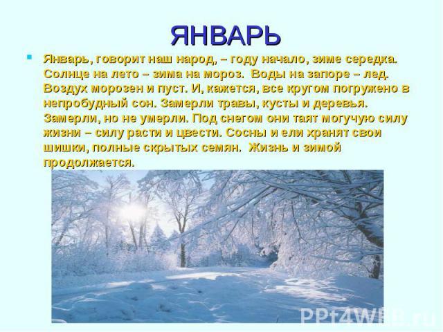 Январь, говорит наш народ, – году начало, зиме середка. Солнце на лето – зима на мороз. Воды на запоре – лед. Воздух морозен и пуст. И, кажется, все кругом погружено в непробудный сон. Замерли травы, кусты и деревья. Замерли, но не умерли. Под снего…