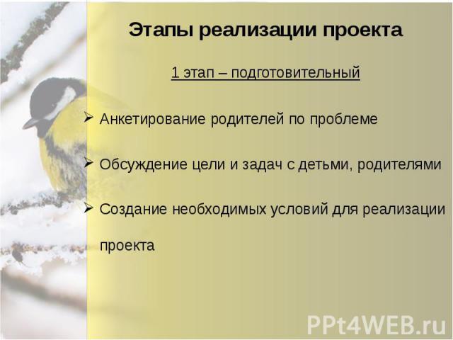 Этапы реализации проекта Анкетирование родителей по проблеме Обсуждение цели и задач с детьми, родителями Создание необходимых условий для реализации проекта