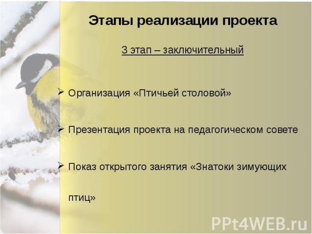 Этапы реализации проекта Организация «Птичьей столовой» Презентация проекта на педагогическом совете Показ открытого занятия «Знатоки зимующих птиц»