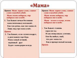 Припев: Мама- первое слово, главное слово в каждой судьбе. Припев: Мама- первое
