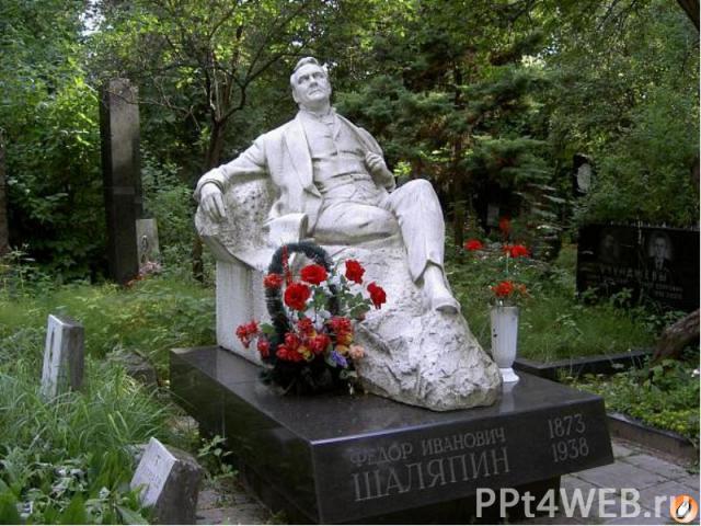 В последний путь  Весной 1937г.у Шаляпина обнаружили лейкоз, а 12 апреля 1938 года он скончался в Париже на руках жены в возрасте 65лет.  До конца своей жизни Шаляпин оставался русским гражданином – он не принял иностранного …