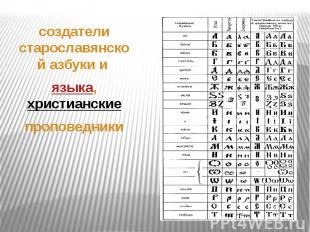 . создатели старославянскойазбукии языка, христианские&n