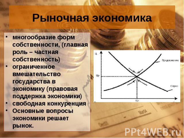 многообразие форм собственности, (главная роль – частная собственность) многообразие форм собственности, (главная роль – частная собственность) ограниченное вмешательство государства в экономику (правовая поддержка экономики) свободная конкуренция О…