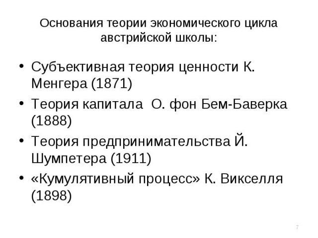 Cубъективная теория ценности К. Менгера (1871) Cубъективная теория ценности К. Менгера (1871) Теория капитала О. фон Бем-Баверка (1888) Теория предпринимательства Й. Шумпетера (1911) «Кумулятивный процесс» К. Викселля (1898)