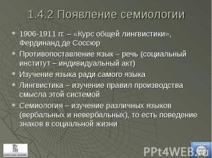1906-1911 гг. – «Курс общей лингвистики», Фердинанд де Соссюр 1906-1911 гг. – «К