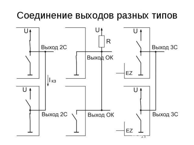 Соединение выходов разных типов