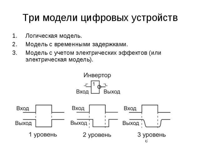 Три модели цифровых устройств Логическая модель. Модель с временными задержками. Модель с учетом электрических эффектов (или электрическая модель).