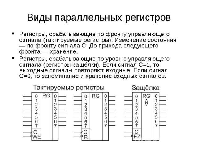 Виды параллельных регистров Регистры, срабатывающие по фронту управляющего сигнала (тактируемые регистры). Изменение состояния — по фронту сигнала С. До прихода следующего фронта — хранение. Регистры, срабатывающие по уровню управляющего сигнала (ре…